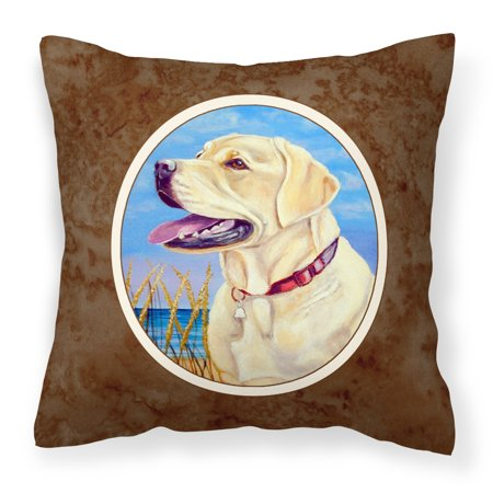 Yellow Labrador at the Beach Fabric Decorative Pillow 7158PW1414 - Walmart.com