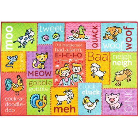 Childrens Educational Playroom Carpet (KC CUBS Playtime Collection Old McDonald's Farm Animal Sounds Educational Learning Area Rug Carpet For Kids and Children Bedrooms and Playroom (3' 3