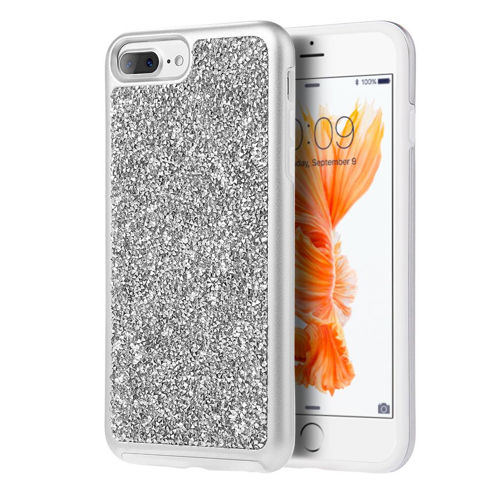 iPhone 7 Plus Glitterati Brilliant Tough Case, Diamond Platinum Collection Hybrid Dual Layer Case Bumper Cover for iPhone 7 Plus - Sparkling Silver