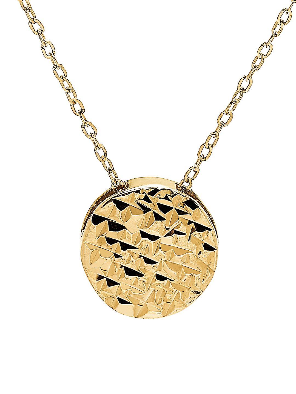 Textured Circle 14K Yellow Gold Pendant Necklace
