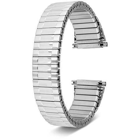 Men's Top Stainless Steel Stretch Watch Band, Oyster Style Look Expansion Tapered Metal, Choice of Colors (16mm,18mm, 20mm or 22mm) Straight and Expandable Ends, No Clasp SS - by United Watchbands (7mm Watch Band)