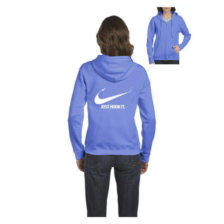 Fishing Hoodie Just Hook It Fishing Hobby Fisherman Fish Outdoor Gift Ideas Womens Sweaters Zip Up