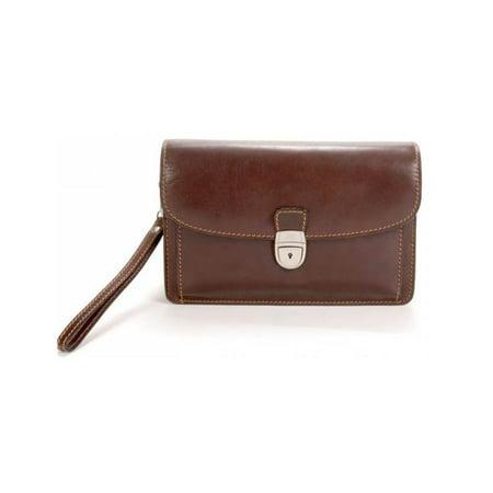 Tony Perotti Brown Bag - Veneto Leather Horizontal Flap-Over Carry All Bag