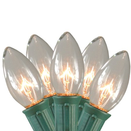 Set of 15 Clear Lighted Mighty Light C9 Shape Christmas Pathway Markers- Green Wire