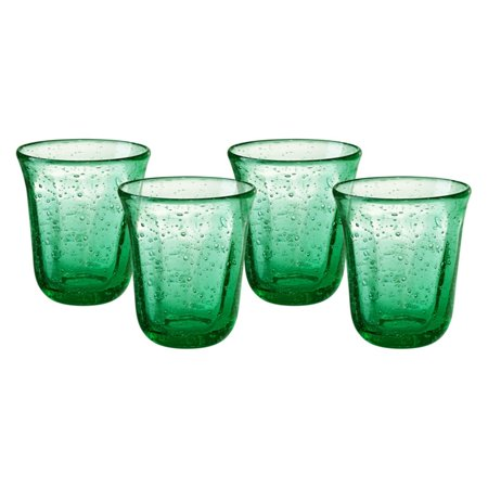 Artland Savannah Bubble DOF Glass - Set of (Green Double Old Fashioned Glass)