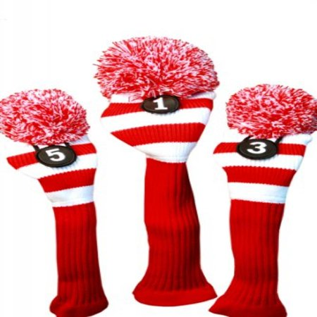 Majek Golf Club Head Covers Driver Metal Fairway Woods Fits up to 460cc Knit Pom Pom Retro Traditional Taylor fit Classic Throwback Vintage Stylish Tour Made Long Neck Sock Headcovers Red & White