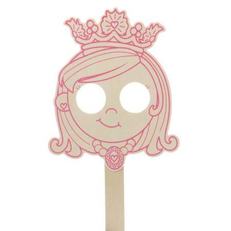 Novica Wood Mask (Darice Wood Mask - Princess - Pink Outline - 7.1875 X 13.125 Inches)