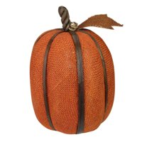 "12"" Autumn Harvest Rust Orange Burlap Pumpkin with Bamboo Thanksgiving Fall Decoration"