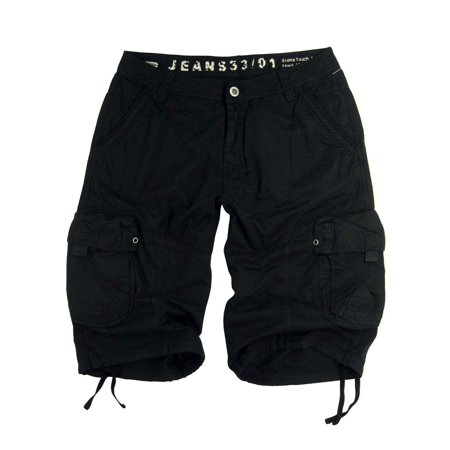 Mens Military-style Cargo Pocket Shorts, Plus size, Black Color, #27sG-BLK sizes:46 - Plus Size Men