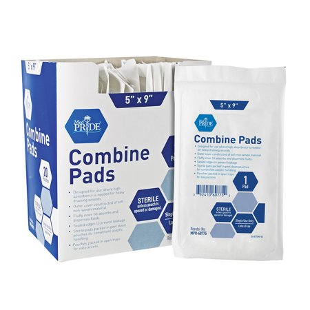 MedPride Combine ABD Pad (2 Boxes of 20) Sterile, Individually Packaged, Size 5 x 9 Inch, Absorbent Abdominal Pads