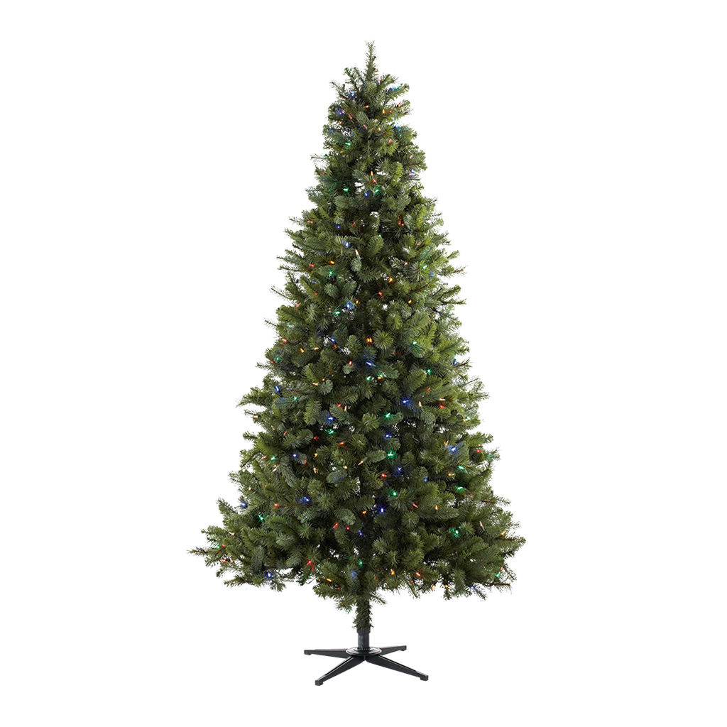 Holiday Time 7.5ft Pre-Lit Norwich Spruce Christmas Tree with 350 Color Changing Lights - Green