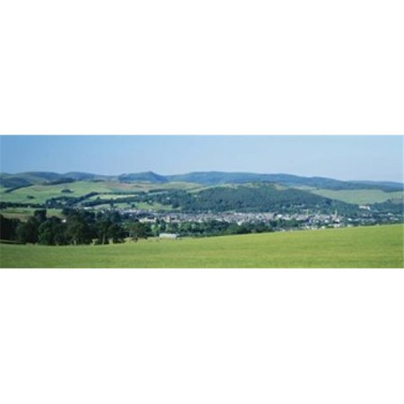 High angle view of a village  Peebles  Tweeddale  Scotland Poster Print by  - 36 x 12 - image 1 de 1