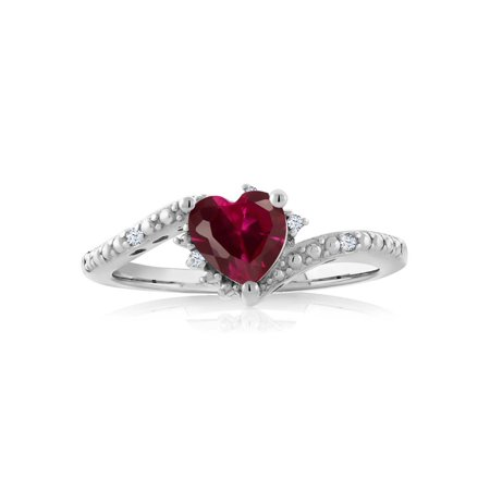 1.01 Ct Heart Shape Red Created Ruby 925 Sterling Silver Ring - image 1 de 2