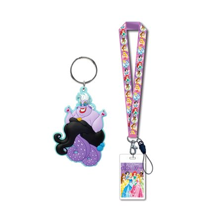 Novelty Character Accessories and Novelty Character Collectible Accessories Disney Princesses Pink Lanyard with Card Holder and Disney Villains The Little Mermaid Ursula the Sea Witch Soft Touch PVC K