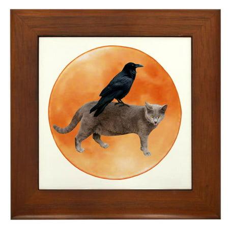 CafePress - Cat Raven Moon - Framed Tile, Decorative Wall Hanging