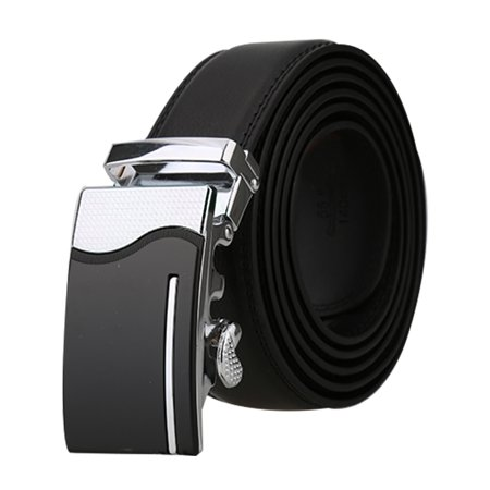 "Men Automatic Buckle Business Dress Leather Belt Width 1 3/8"" Black 140cm - image 7 of 7"