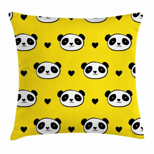 Kids Girls Throw Pillow Cushion Cover, Smiling Panda Bear Heads and Little Heart Icons on Yellow Background, Decorative Square Accent Pillow Case, 16 X 16 Inches, Yellow White and Black, by Ambesonne