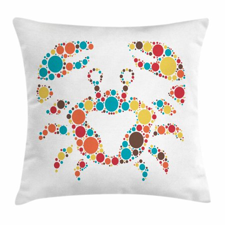 Crabs Throw Pillow Cushion Cover, Abstract Shape of a Sea Creature Decapod Crustacean with Big and Small Colorful Dots, Decorative Square Accent Pillow Case, 16 X 16 Inches, Multicolor, by Ambesonne - Colorful Sea Creatures