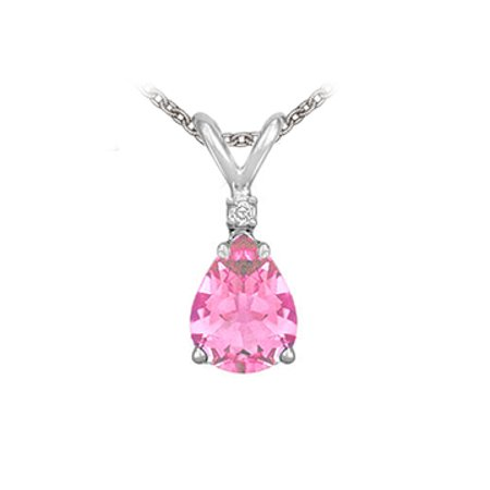 Pear Cut Created Pink Sapphire and Cubic Zirconia Pendant Necklace in Sterling Silver.1.02ct.tw - image 1 of 2