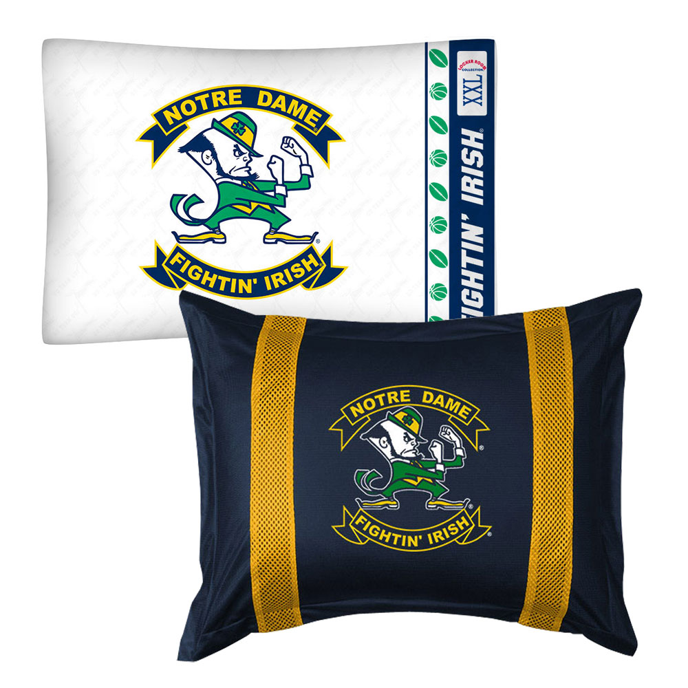 2pc NCAA Notre Dame Fighting Irish Pillowcase and Pillow Sham Set College Team Logo Bedding Accessories
