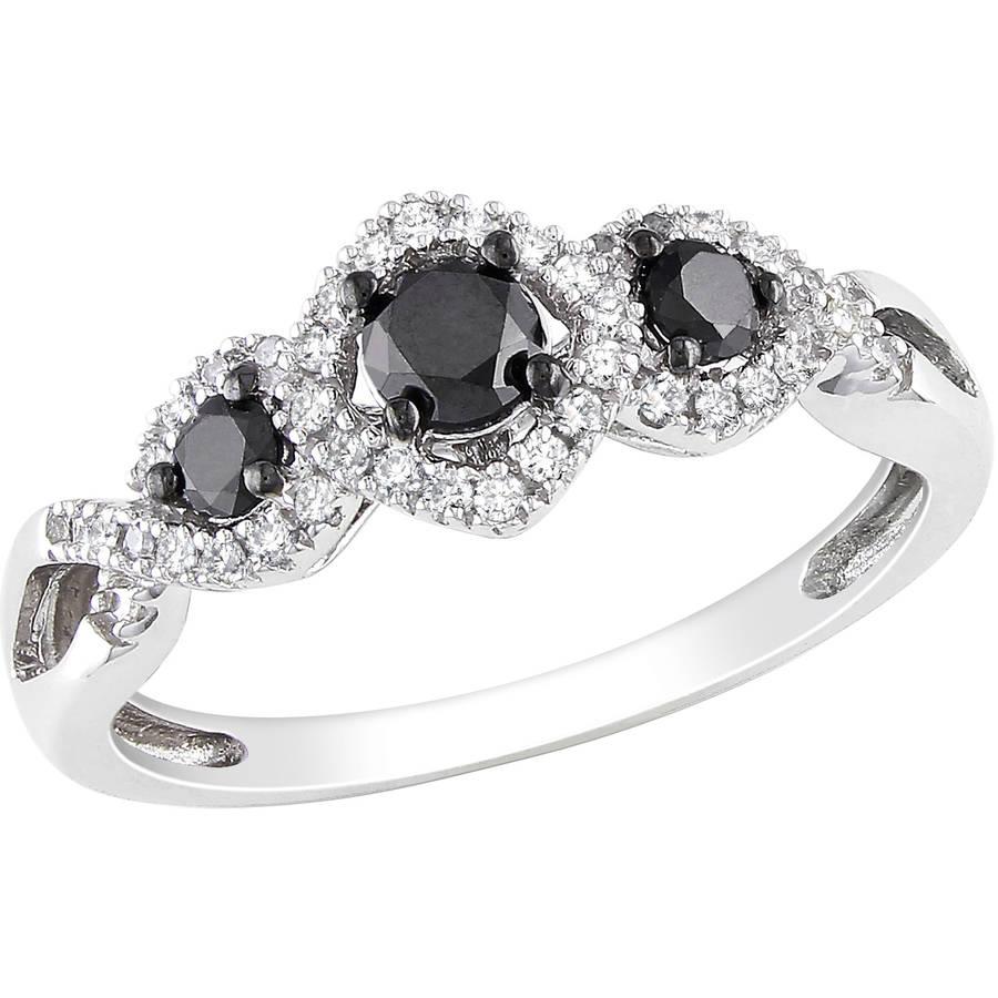 1/2 Carat T.W. Black and White Diamond 10kt White Gold Three Stone Engagement Ring