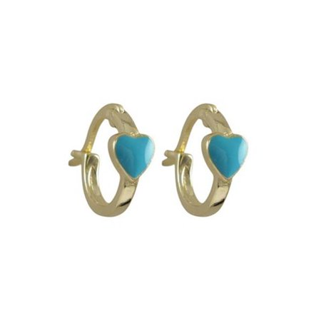 Dlux Jewels Turquoise Enamel 4.5 x 5 mm Heart & Gold Plated Sterling Silver Baby Huggie Lever Back Earrings, 0.44 in. - image 1 of 1