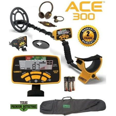 Garrett Ace 300 Metal Detector with Free Accessory Package Plus Protective Carry Bag