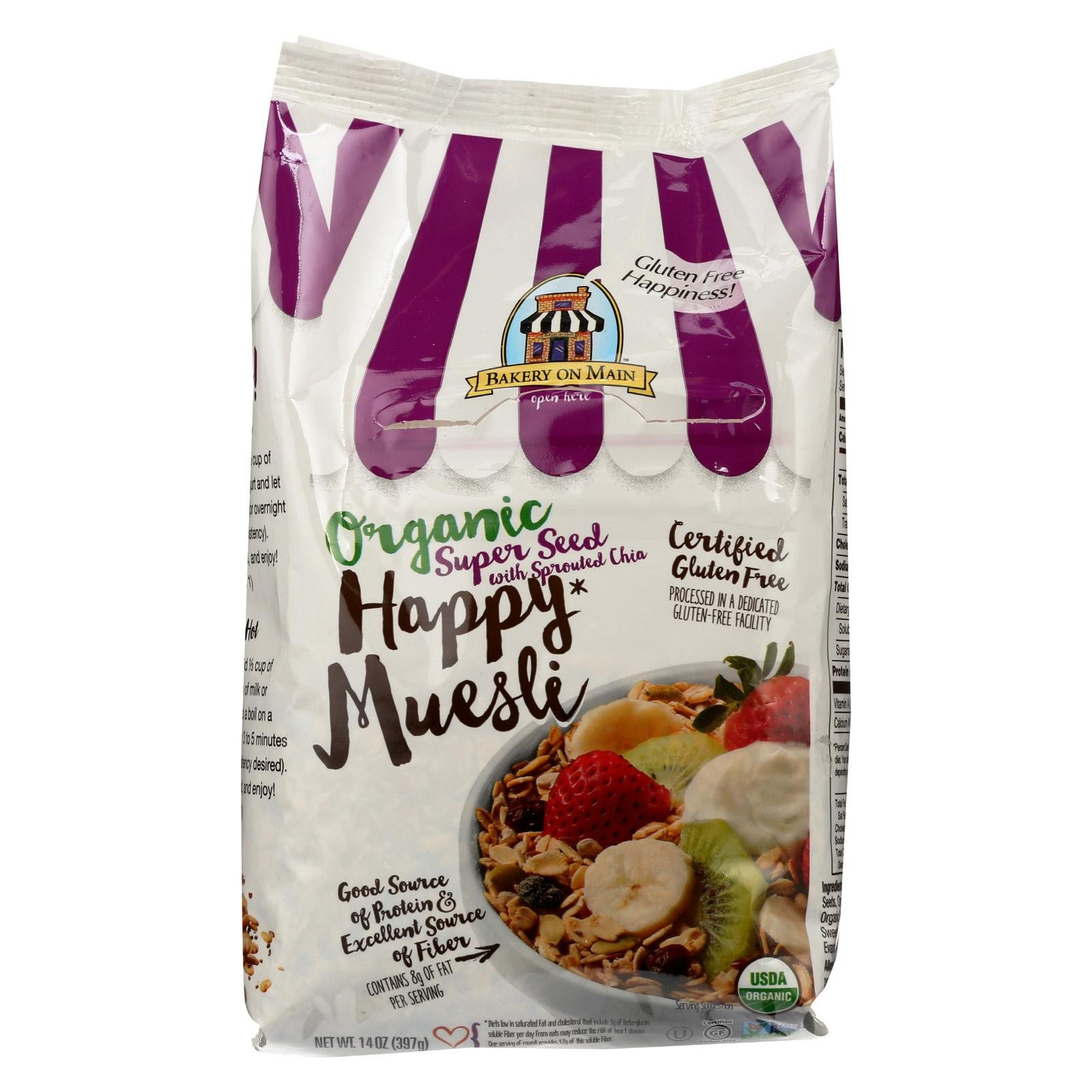 Bakery On Main Organic Happy Muesli - Super Seed With Sprouted Chia - Pack of 4 - 14 Oz