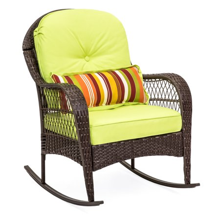Best Choice Products Wicker Rocking Chair Patio Porch Deck Furniture All Weather Proof W/ Cushions- Green ()
