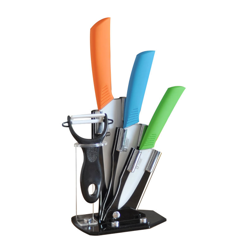 Tim Home 4 Pieces Multi Color Ceramic Cutlery Kitchen Knives with Fruit Peeler and Knife Stand (TJC-006)