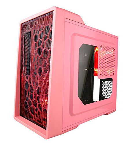 Pc Case, X-enerq 2x120mm Red Led Fan Gaming Desktop Pc Tower, Pink