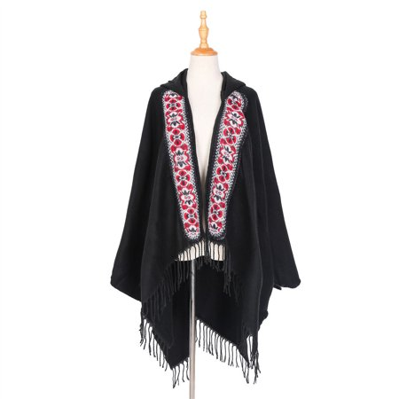 Tailored Women's Cape Wrap Sweater Cape Coat Open Front Blanket Shawls and Wraps With Hat Front Wrap Altar