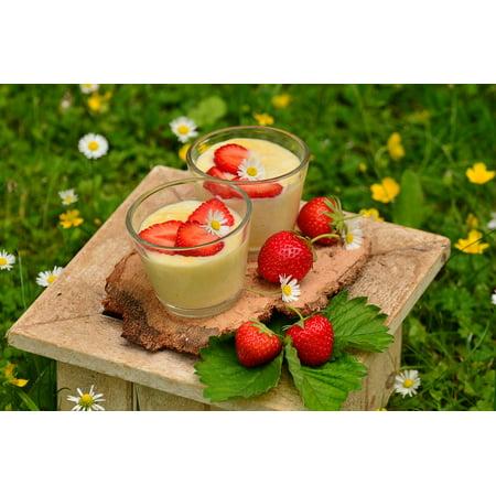 Canvas Print Strawberry Dessert Vanilla Dessert Strawberries Stretched Canvas 10 x 14