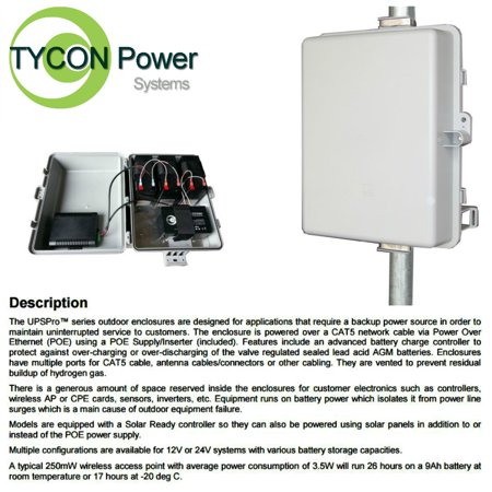Tycon Power UPS-PL1212-36 UPSPro 12V 36Ah Battery Solar Ready 24hr backup 14W