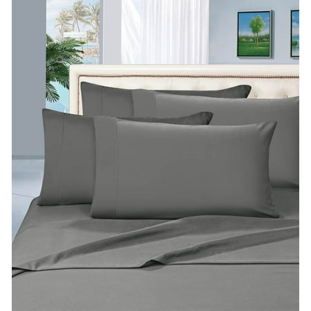 Elegant Comfort 1800 Series Deep Pocket 4pc Bed Sheet Set , Queen Grey (Elegant Silver Satin)