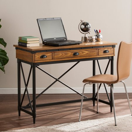 Southern Enterprises Luther 2 Drawer Industrial Writing Desk With Keyboard Tray