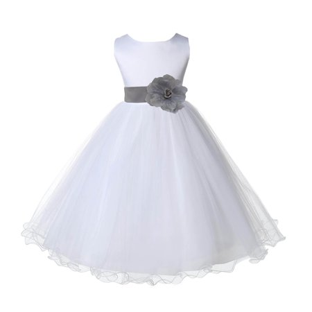 Ekidsbridal Wedding Pageant White Flower Girl Dress Tulle Rattail Edge Toddler Junior Bridesmaid Recital Easter Dress Holiday First Communion Birthday Girls Clothing Baptism Silver 829S 6 - Girls Silver Dresses