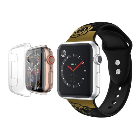 Apple Watch Bands 44mm Premium Silicone Wristband with Full Body Clear Hard Temper Glass Screen Protector for Apple Watch Series 4 - Black Marble