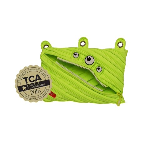 ZIPIT Classic Monster 3 Ring Pencil Case, Bright Lime