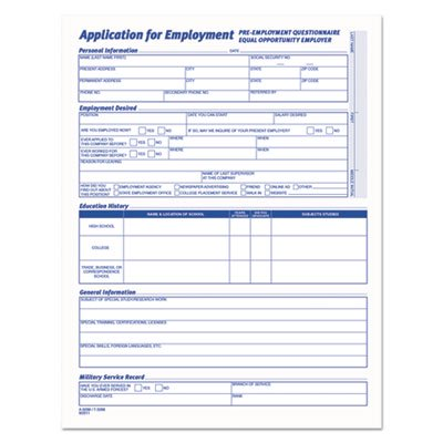 Comprehensive Employee Application Form  8 1 2 X 11  25 Forms  Sold As 1 Package  25 Each Per Package