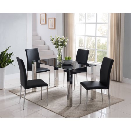 Parsons Chair Glass Table (Niles 5 Piece Kitchen Dinette Dining Set, Chrome Metal Frame & Black Tempered Glass Top, Modern (55