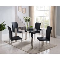"Niles 5 Piece Kitchen Dinette Dining Set, Chrome Metal Frame & Black Tempered Glass Top, Modern (55"" Rectangular Table & 4 Parsons Chairs)"