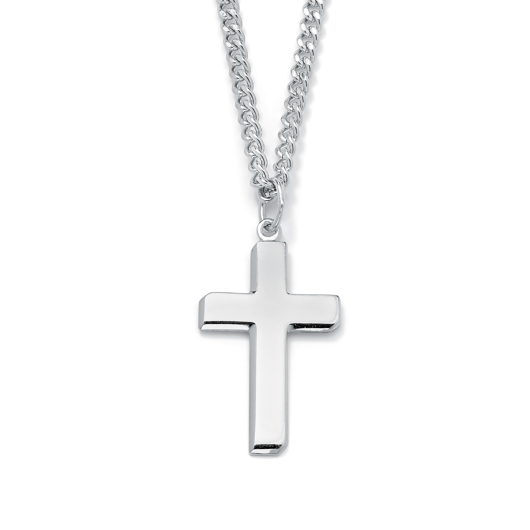 Men s Rhodium Plated Sterling Silver Cross Pendant and Stainless