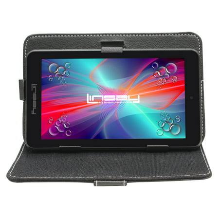 """LINSAY 7"""" 1280x800 IPS Touchscreen Tablet PC Featuring Android 4.4 (KitKat) Operating System Bundle with Black Case"""
