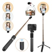 Selfie Ring Light for Phone with Tripod Stand & Selfie Stick Tripod,Hot Shoe Adapter for Selfie, Make Up, Live Stream