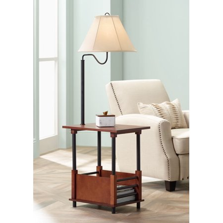 Regency Hill Mission Floor Lamp End Table Swing Arm Farmhouse Wood Open Crate Design Empire Shade for Living Room Reading Bedroom