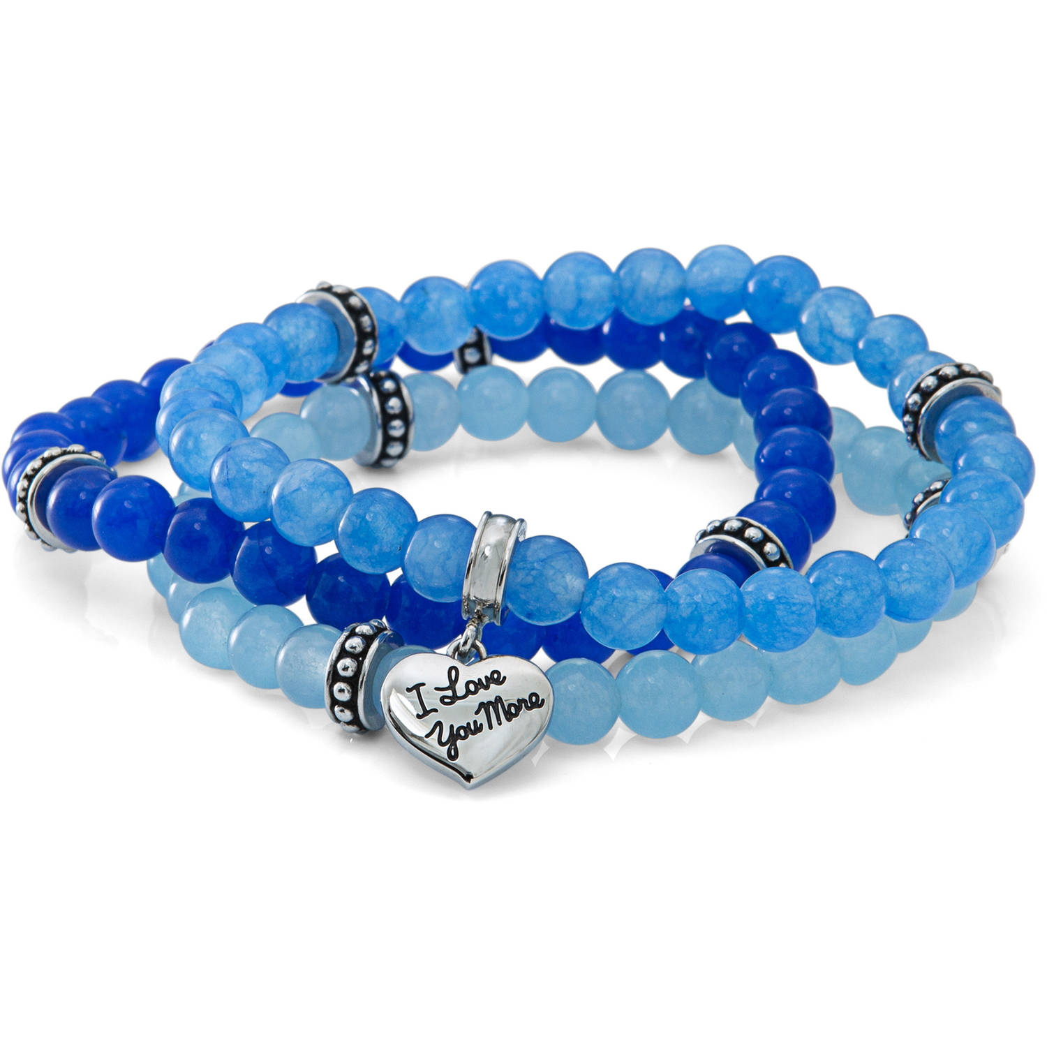"Connections From Hallmark Stainless Steel ""So Special So Loved"" Blue Gemstone Stretch Bracelet Set"