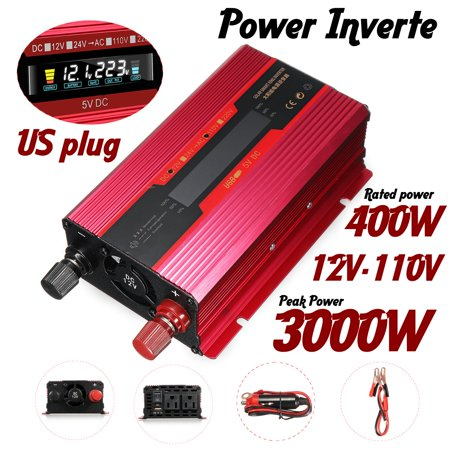 3000w Power Inverter - 3000W Power Inverter for Car DC 12V to AC 110V Car Power Inverter Adapter With Clip Battery Cale + Cigarette Lighter Cable