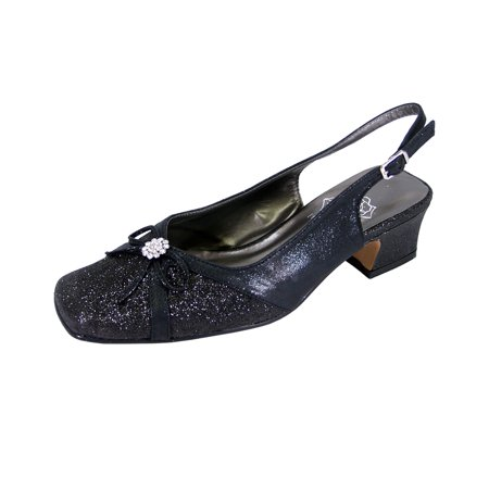 FLORAL Gemma Women's Wide Width Evening Dress Shoes for Wedding, Prom, & Dinner BLACK 7.5