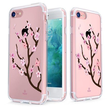 Fox V2 Print - iPhone 8 Case - True Color Clear-Shield Cherry Blossom [V2] [Japanese Collection] Printed on Clear Back - Perfect Soft and Hard Thin Shock Absorbing Dustproof Full Protection Bumper Cover